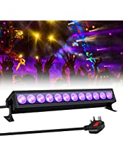 GLIME UV LED Light Bar 36W Ultraviolet Black Light 12 LEDs 360° Adjustable with Switch Wall Lights for DJ Stage Lighting Glow Party Body Paint Halloween