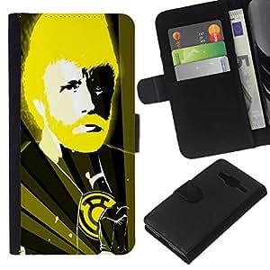 NEECELL GIFT forCITY // Billetera de cuero Caso Cubierta de protección Carcasa / Leather Wallet Case for Samsung Galaxy Core Prime // Divertido Chuck N Karate Dios