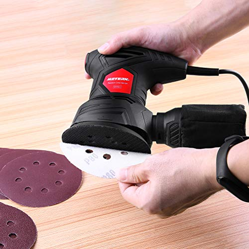 Meterk 5 Inch Random Orbit Sander Machine 2.5A Electric Hand Sander with 12Pcs Sandpapers, 12000RPM, 6 Variable Speed, Efficient Dust Collector Bag, Ideal for Finishing, Sanding, Polishing Wood