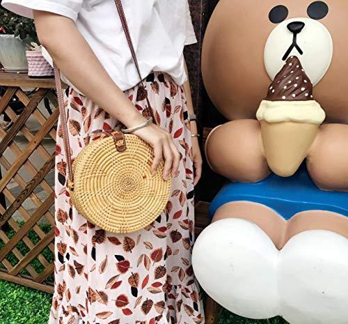 Liladida Art sac Tissage à Circular rétro double Bohême style circulaire Made sac Ladies' main Rotin épaule Hand Sac objet circulaire rarAUwq