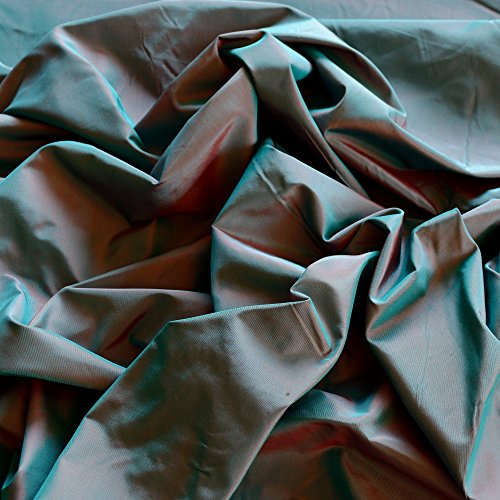 "Teal & Red Iridescent Silk Taffeta, 100% Silk Fabric, By The Yard, 54"" Wide"