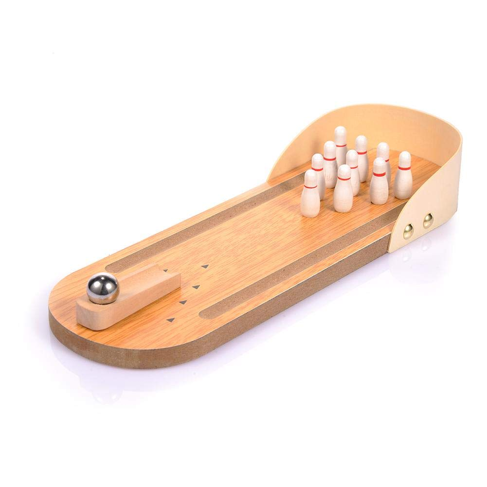StageOnline Mini Bowling Game Mini Wooden Desktop Bowling Game Mini Tabletop Bowling Toy Classic Desk Ball for Kids and Adults