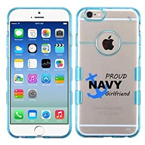 For iphone 5C () Proud Navy Girlfriend On Clear/Transparent Gummy Cover (Blue)
