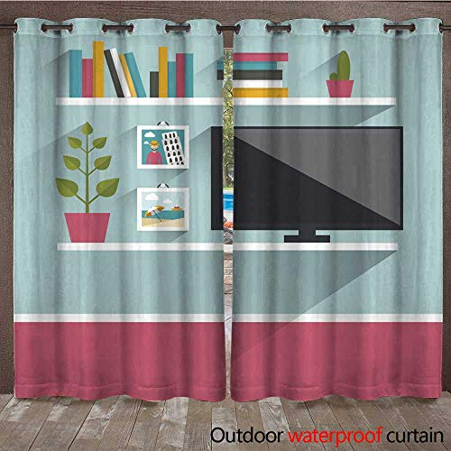 (Home Patio Outdoor Curtain Living Room Interior Tv and Book Shelves W108 x L84)