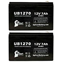 2x Pack - APC BACK-UPS CS 500 BK500 Battery - Replacement UB1270 Universal Sealed Lead Acid Battery (12V, 7Ah, 7000mAh, F1 Terminal, AGM, SLA) - Includes 4 F1 to F2 Terminal Adapters