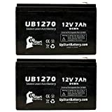 2x Pack - Laerdal 95 HEART AID Battery - Replacement UB1270 Universal Sealed Lead Acid Battery (12V, 7Ah, 7000mAh, F1 Terminal, AGM, SLA) - Includes 4 F1 to F2 Terminal Adapters