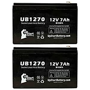 2x Pack - Upsonic PC MIGHT 55 Battery - Replacement UB1270 Universal Sealed Lead Acid Battery (12V, 7Ah, 7000mAh, F1 Terminal, AGM, SLA) - Includes 4 F1 to F2 Terminal Adapters