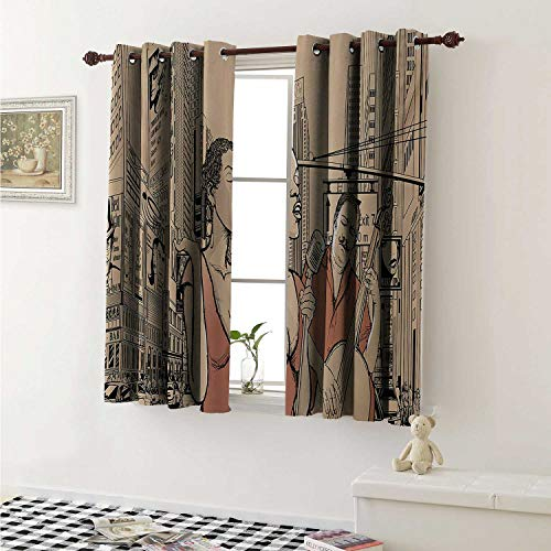 ecorative Curtains for Living Room Jazz Singer with Double Bass Player in a Street of New York Urban Lifestyle Curtains Kids Room W72 x L72 Inch Brown Beige ()