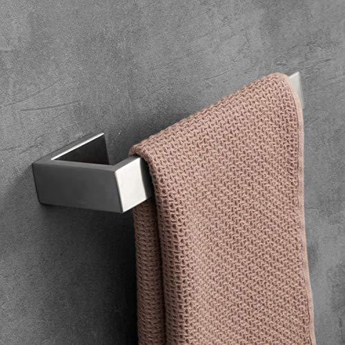 LuckIn 4pcs Bath Hardware Set Stainless Steel Towel Bar Set, Modern Bathroom Hardware Accessory Set Brushed Nickel, Towel Bar Holder Set with Double Robe Coat Hook, TRS001C by LuckIn (Image #3)