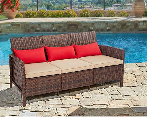 SUNCROWN Outdoor Furniture Patio Sofa Couch Seats 3