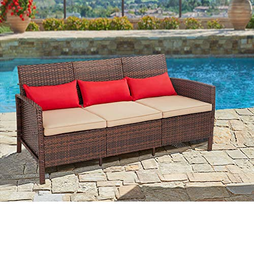 SUNCROWN Outdoor Furniture Patio Sofa Couch (Seats 3) Garden, Backyard, Porch or Pool | All-Weather Wicker with Thick Cushions | Easy to Assemble