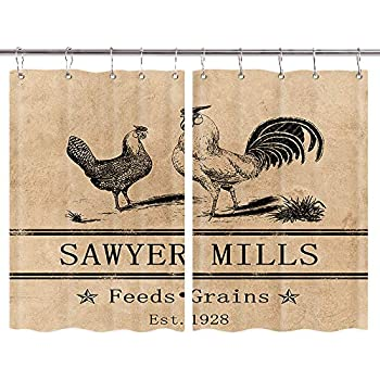 Amazon.com: Lunarable Chicken Kitchen Curtains, Blue Rooster ...