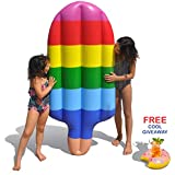 Tomi Pool Float - Inflatable Floating Raft - Perfect for Swimming Pools, River Raft and Beach Longer - Popsicle Shape - Water Toy - Huge Mattress: 70 inches long X 26 inches wide -Cup Holder included