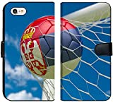 Luxlady iPhone 7 Flip Fabric Wallet Case Image ID: 34474006 Serbia Flag and Soccer Ball Football in Goal net