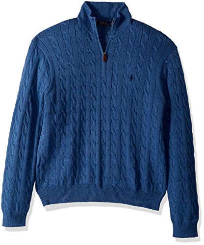 (Polo Ralph Lauren Cotton Cable 1/4 Zip Sweater-XXL-BLUEHTR)