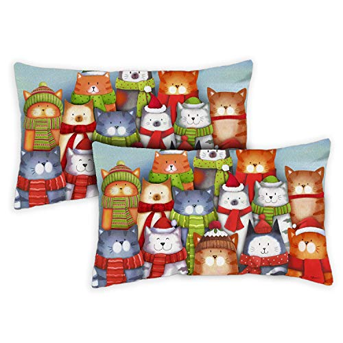Toland Home Garden Decorative Cat Caroling Winter Holiday Christmas Xmas Funny 12 x 19 Inch Pillow Case (2-Pack) from Toland Home Garden