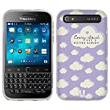Head Case Designs Silver Lining Light Purple Cloud Patterns Soft Gel Back Case Cover for BlackBerry Classic Q20