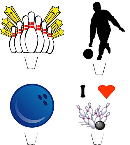 Novelty Ten Pin Bowling Mix 12 Edible Stand up wafer paper cake toppers (5 - 10 BUSINESS DAYS DELIVERY FROM UK)