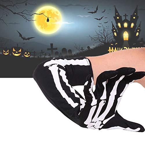 HeroStore 1Pair Skeleton Gloves Skull Bone Long Arm Warmer Sleeve Gloves Halloween Costume Accessory ()