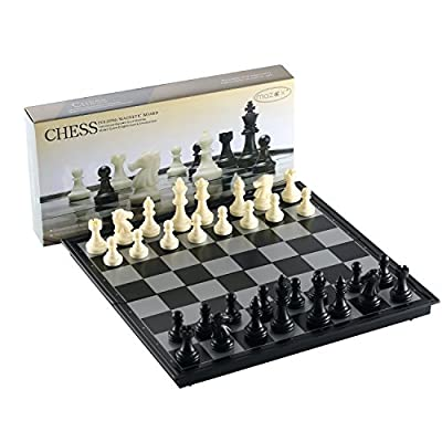 Folding Travel Chess Set for by MAZEX Kids or Adults Chess Board Game 9.8X9.8X0.8 Inch (Black&White Chess Pieces)