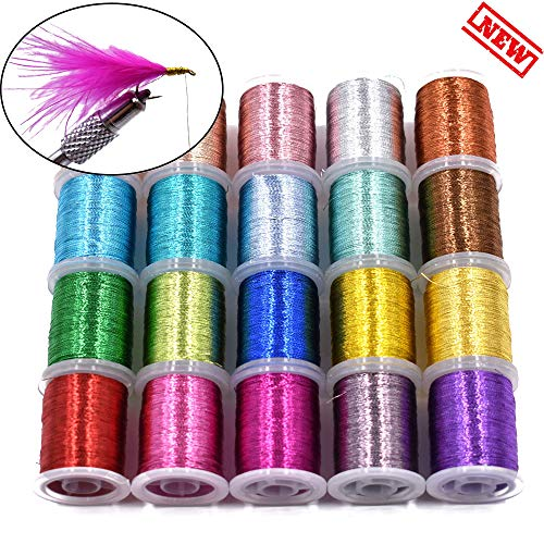 20 Colors Flash Tinsel Fly Ting Thread Widely Used in Flies Body Fly Tying Materials ... (20 Standard Spools Thread)
