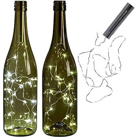 XuBa 4Pcs 2M 20 Leds Botella de Vino Solar Tapón Alambre de Cobre Estrellada Luz de Hada Blanca Cálida para decoración de Fiesta de Bodas Luz Blanco ...