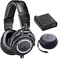 Audio Technica ATH-M50X Headphones + Slappa Case + Headphone Amplifier (Black)