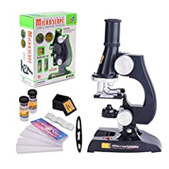 Microscope Usage:  1. Insert the battery, turn on the LED power switch;  2. Rotate the focus knob in counterclockwise, elevate lens barrel, adjust the light brightness;  3. Take samples first, place it on the glass slide, can cover with another glass...