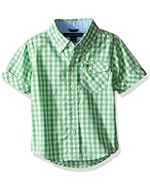 Tommy Hilfiger Baby Boys' Baxter Short Sleeve Yarn Dyed Poplin Woven Shirt