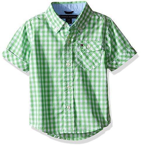 Tommy Hilfiger Baby Boys' Baxter Short Sleeve Yarn Dyed Poplin Woven Shirt, Go Green, 12 Months