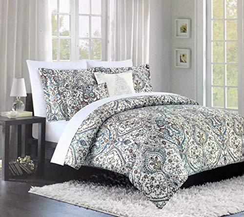 Cynthia Rowley Bedding 3 Piece Full/Queen Size Duvet Comforter Cover Set French Style Floral Medallions Pattern in Rust, Blue and Mustard Yellow on Cream - Gloria ()