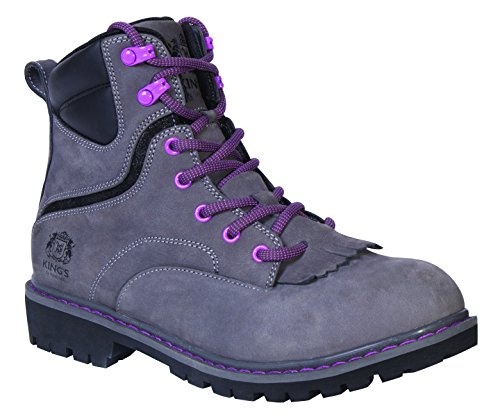 King's by Honeywell (KWLK02-GRY-090) 6'' WOMEN'S Steel Toe Welted Leather Work Boot, Gray, Size 9 by King's