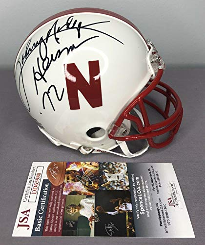 Johnny Rodgers & Mike Rozier SIGNED Nebraska Mini Helmet w/COA ~ Heisman - JSA Certified - Autographed College Mini Helmets