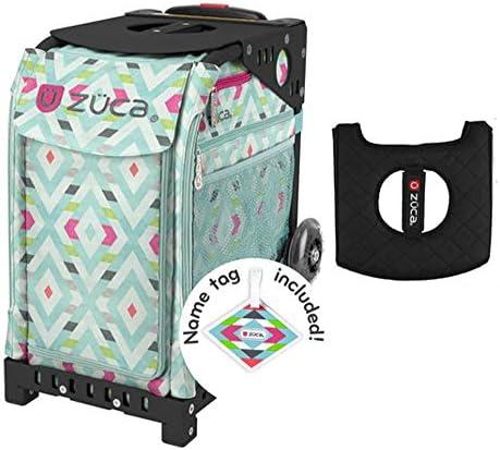 Z?CA INC Zuca スポーツバッグ - Chevron ギフト付き ブラック/ピンク シートカバー (ブラック点滅しないホイールフレーム)