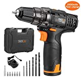 12V Cordless Drill Set,Tacklife PCD01B,2000mAh Battery with 60-min Fast Charger, 14pcs Accessories, 3/8'' Metal Keylesss Chuck,Max Torque 239 In-lbs, 19+1 Position with LED