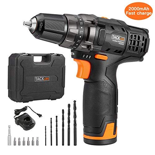 Cordless Drill, TACKLIFE PCD01B Electric Drills 12V 2000mAh Li-on 3/8-inch All Metal Chuck 2-Speed Max Torque 239 In-lbs 19+1 Position with LED, 1H Fast Charger 13PCS Free Bits 100-240V Charge Voltage