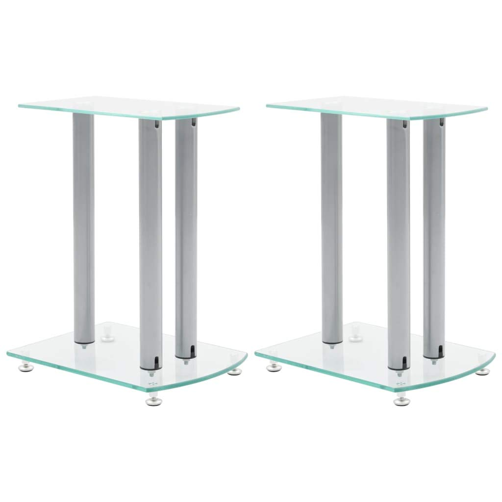 Electronics Audio Audio Accessories Speaker Accessories Speaker Stands & Mounts Aluminum Speaker Stands 2 pcs Transparent Safety Glass by romelarus
