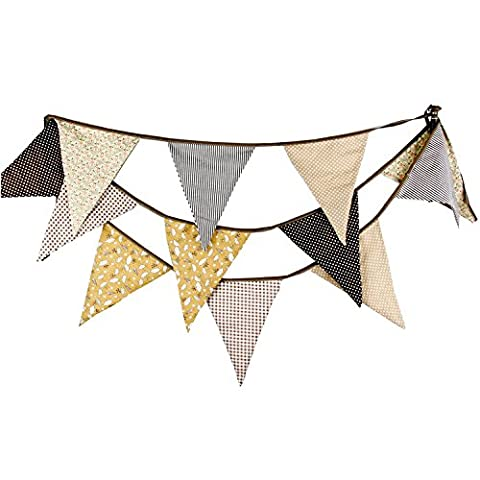 Extra Large Bunting 12 Feet Flag Banner Pennant Garland Fabric Triangle Flags Double Sided Vintage Cloth Shabby Chic Decoration for Wedding Birthday Party Bedrooms (Light Tan - Cloth Flag