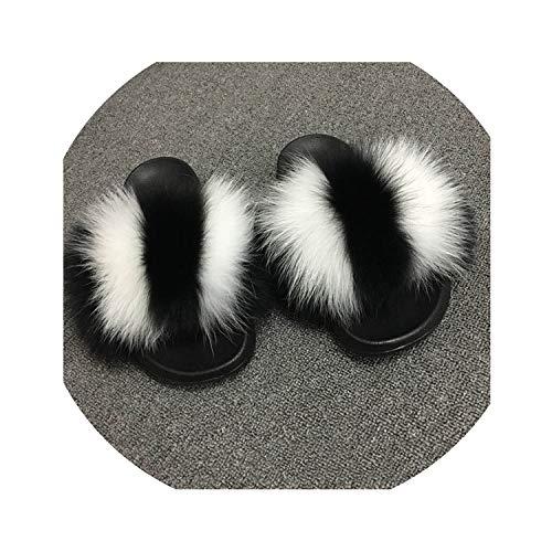 Summer Women Slippers Indoor Flip Flops Casual Black Beach Sandals Fluffy Plush Shoes-White-Stripes