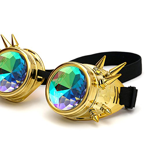 Amazon, Kaleidoscope Rave Rainbow Crystal Lenses Steampunk Goggles Spike Halloween (One Size-Adjustable head band, Golden) by DODOING (Image #3)