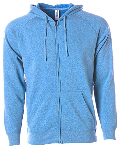Global Blank  Lightweight Zip Up Hoodies Men Extra Soft Fleece Hooded Sweatshirt Light,Pacific,Large