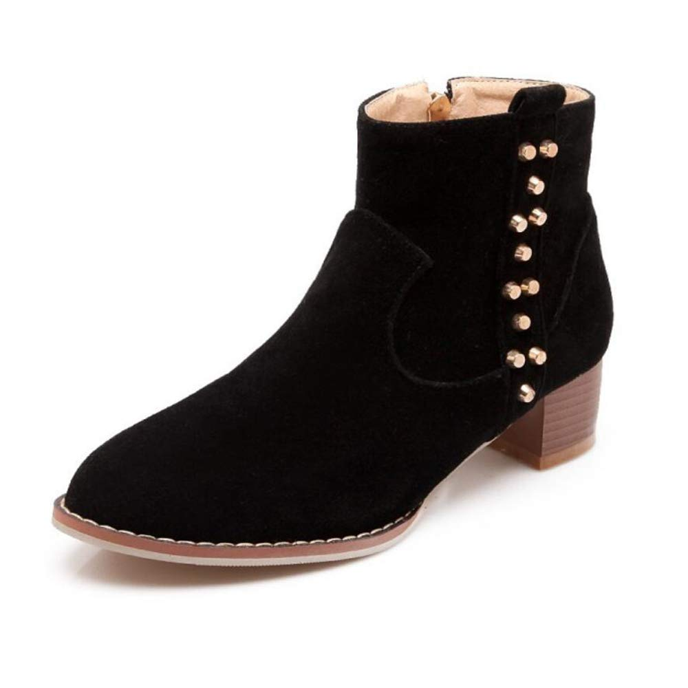 CITW Herbstliche Damenstiefel Rivet Wildleder Stiefel Mit Großen Damen Stiefeln Warme Stiefelmode Stiefel,schwarz,UK3 EUR37