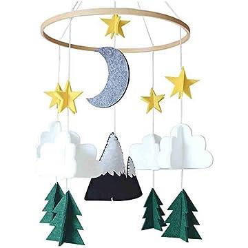 RINKOUa Baby Crib Mobile Hanging 3D Felt Decor Cloud Star Moon Starry Woodland Night Nursery Decoration