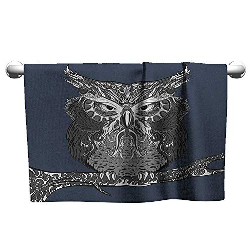 xixiBO Towel W14 x L14 Indie,Owl with Vintage Style Ornaments Wisdom Symbol Creature of Night, Dark Blue Charcoal Grey White Shower Towel Facial Hand -