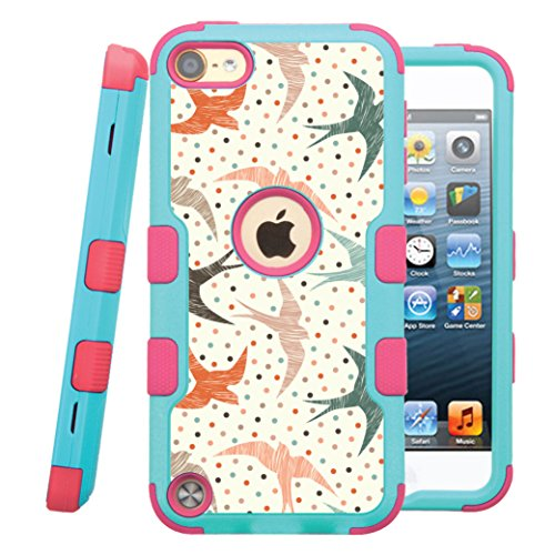 iPod touch 5th / 6th Case, CASECREATOR[TM] For Apple iPod touch 5th / 6th generation () -- NATURAL TUFF Hybrid Rubber Hard Snap-on Case Pink Teal Blue-Polka Dot Swallows ()