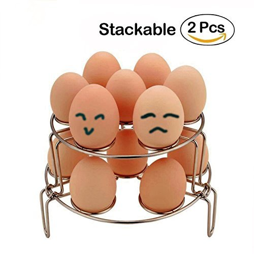 Egg Steamer Rack, Upgraded Version 2-Pack Stainless Steel Steamer Rack for Instant Pot and Pressure Cooker, Egg, Vegetable Cooler Stand Basket Set,Cooker/Pot Accessories