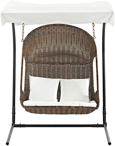 Modway Vantage Wicker Rattan Outdoor Patio Swing Chair with Canopy in Brown White