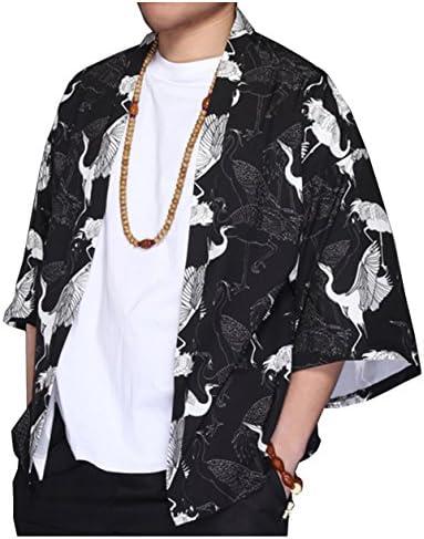 メンズ ロングカーディガン コート 羽織り 薄手 ロング リネン ロングコート 七分袖 ブラック 和柄 半纏 鶴柄