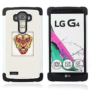 """LG G4 H815 H810 H811 LS991 LS986 US991 H815 U812 - 3 en 1 impreso colorido de Altas Prestaciones PC Funda chaqueta Negro cubierta gel silicona suave (Perro psicodélico"""")"""