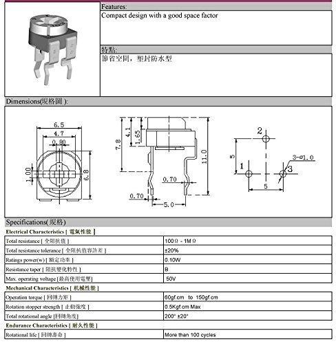 Variable Resistor Assorted Kit 14 value 280pcs Potentiometer Assortment Pack